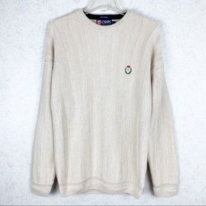 Chaps hand framed cotton chunky knit sweater